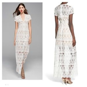WAYF long maxi dress lace shell with nude slip LG